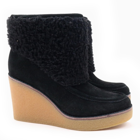 53876db9557 UGG Coldin Black Sheepskin Cuff Wedge Boots 🔥 Boutique